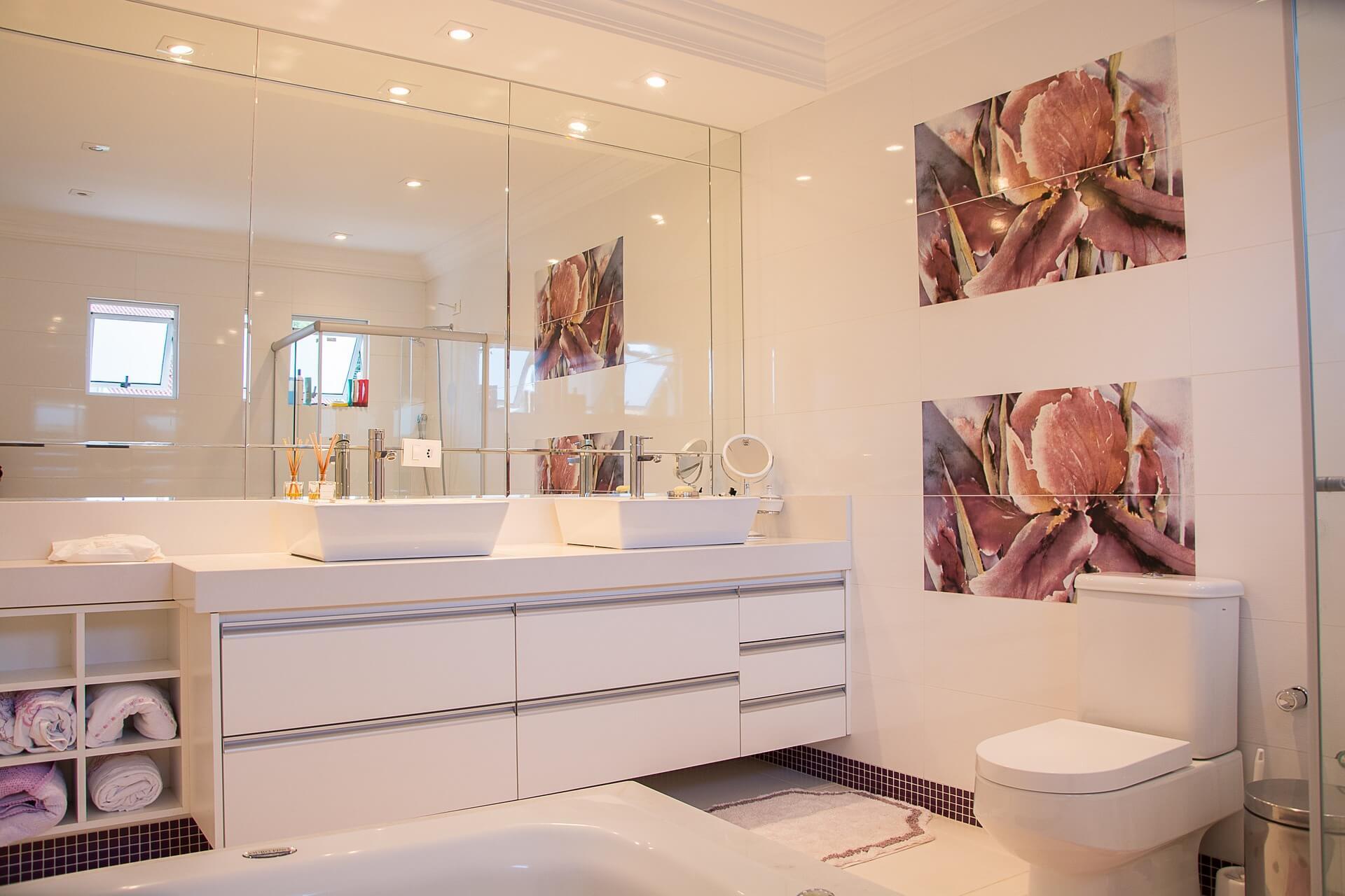 bathroom with led lights
