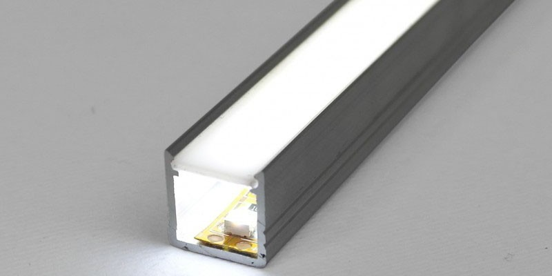 ML-T2*M-2 2m / 2000mm T2 LED profile (raw aluminium), 12mm x 12mm, set with milky cover